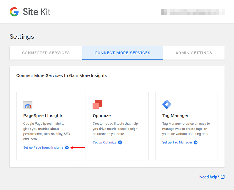connect google pagespeed insights to site kit