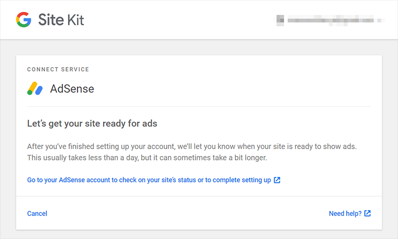 adsense connected to google site kit
