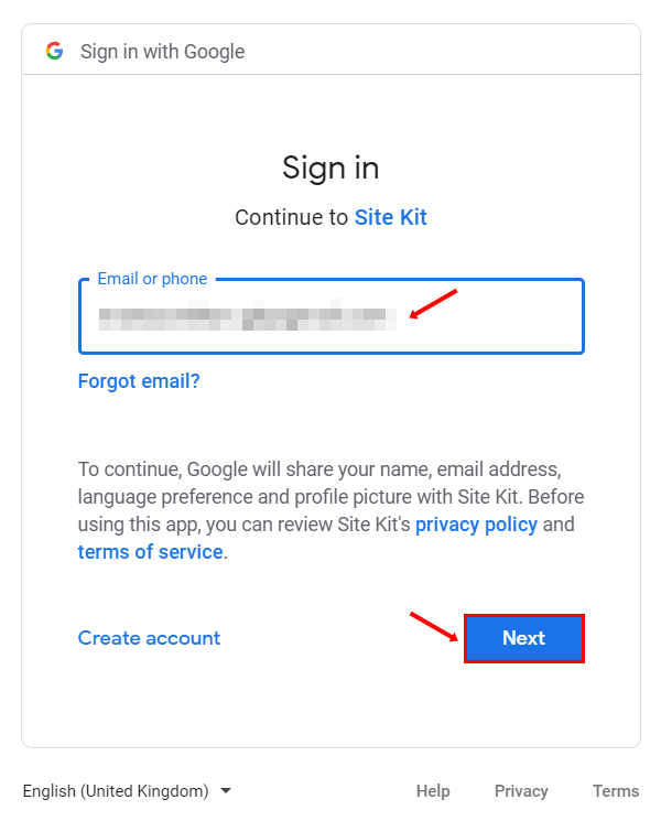 continue to google site kit