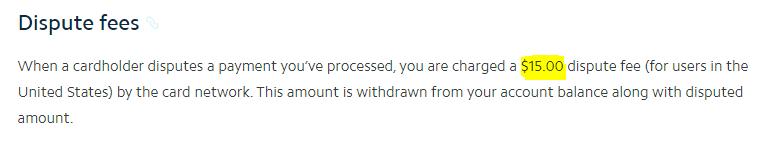 dispute fees
