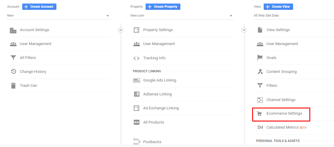 ecommerce settings magento google analytics