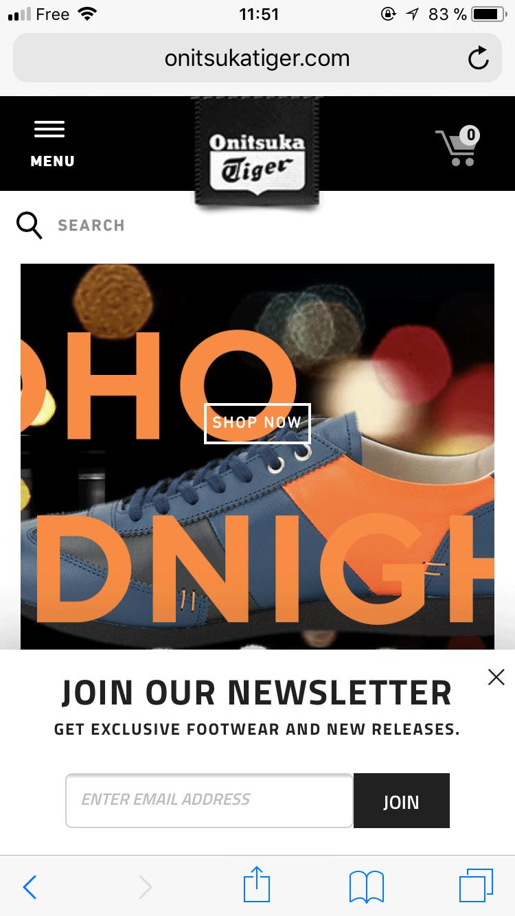 Email bar on Onitsukatiger