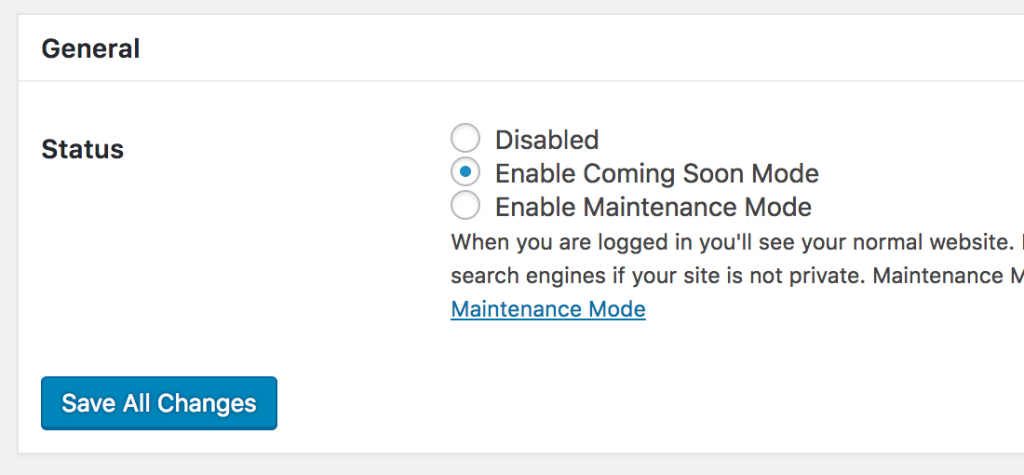 enable coming soon mode