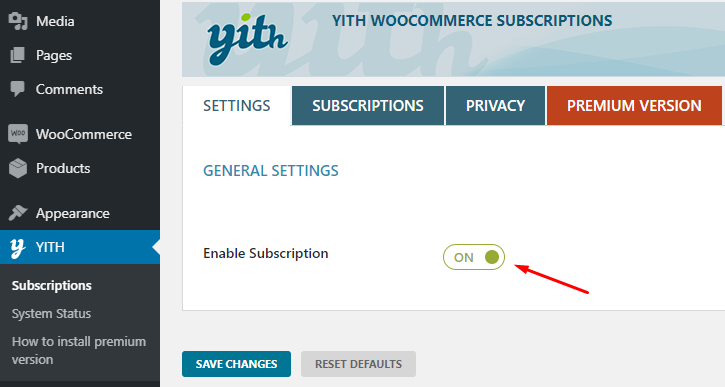 enable subscriptions