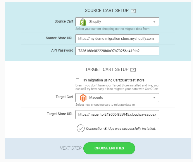 enter API password and choose entities