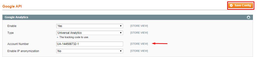 expand magento google analytics section