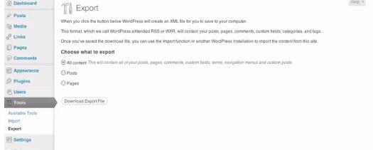 WordPress Export