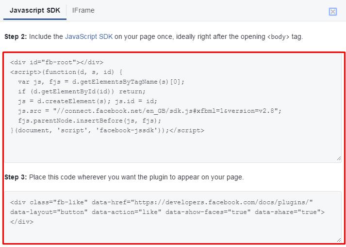 facebook copy code