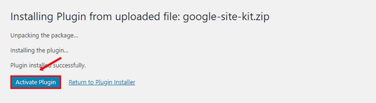 google site kit activate plugin