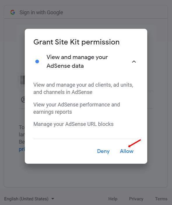 grant permission to site kit