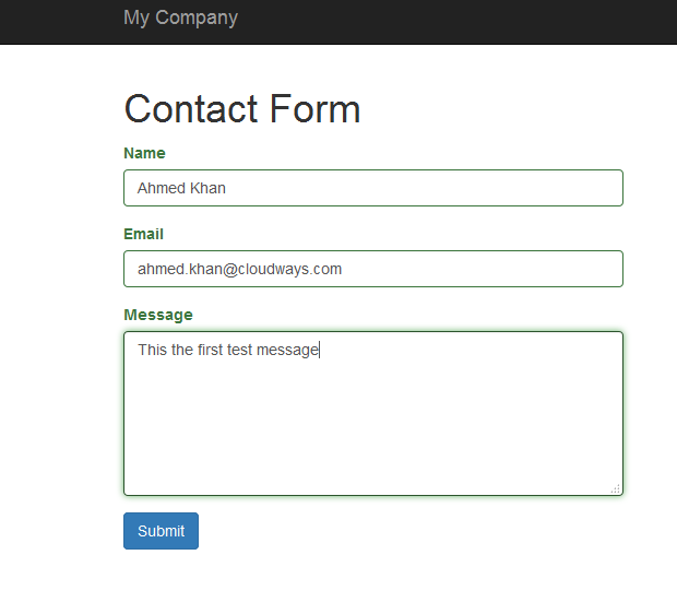 Contact Form in Yii2