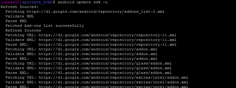updating android sdk in linux