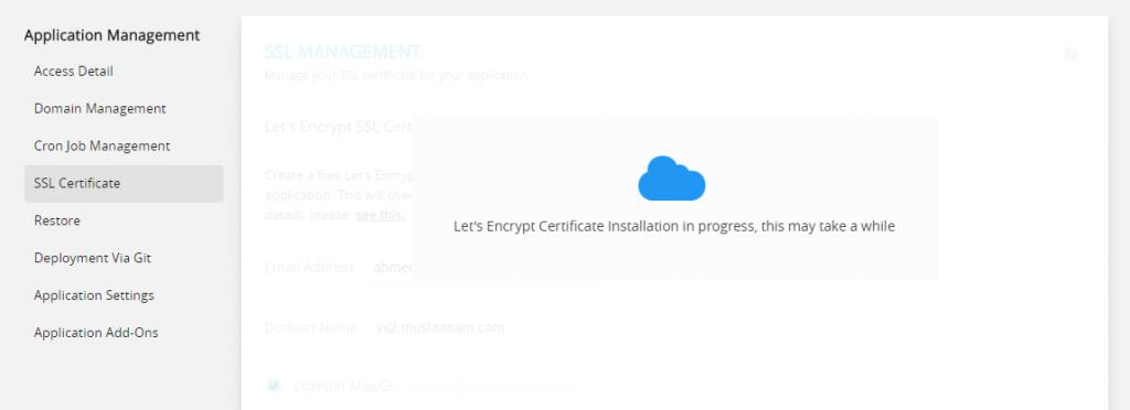 lets encrypt installation