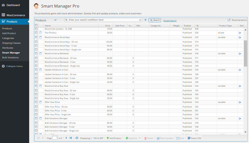 Smart Manager Options