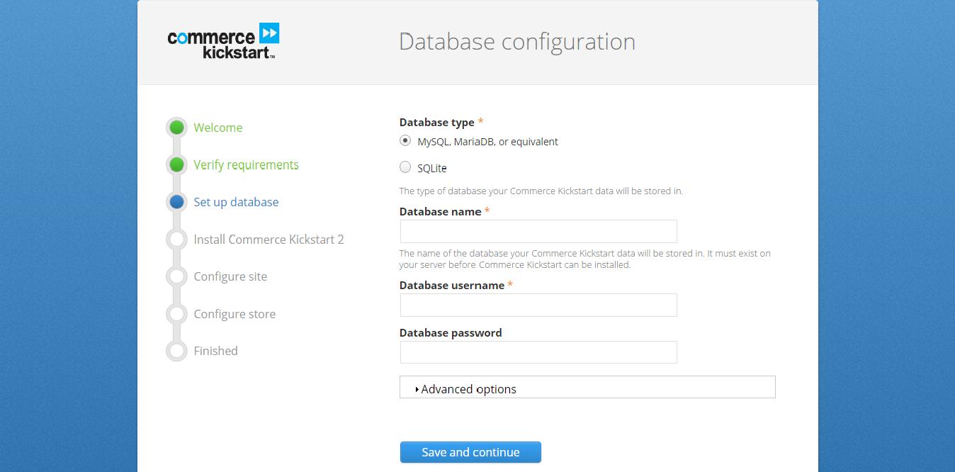 commerce kickstart database configuration