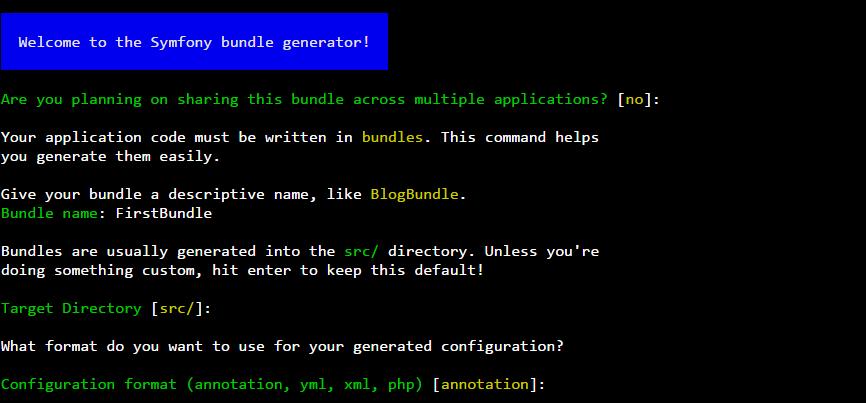 Symfony Bundle generator