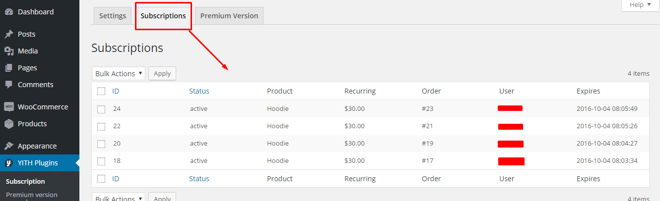 YITH Plugin Subscriptions