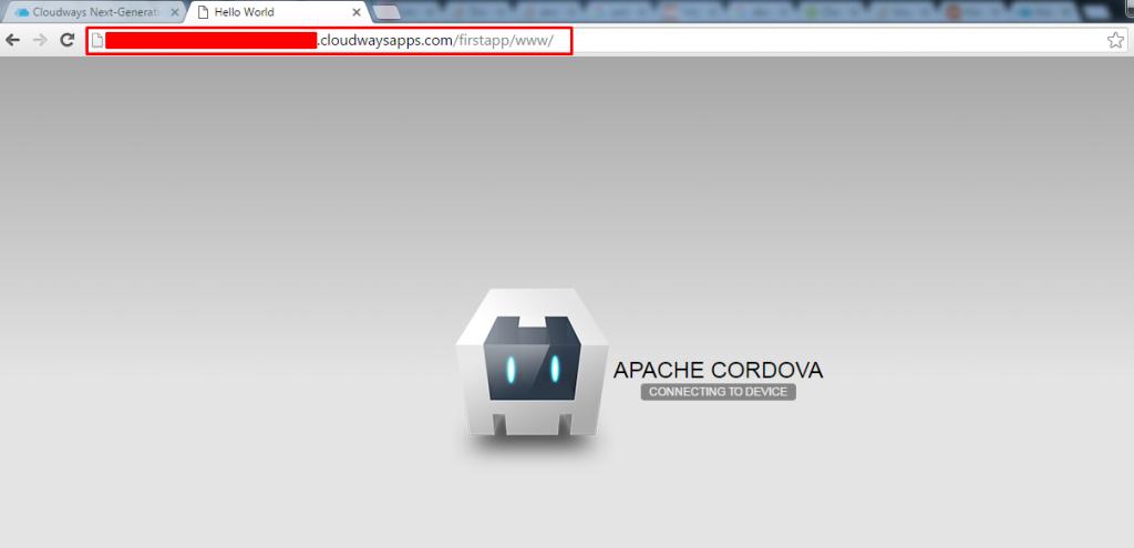 cordova hello word web