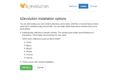 b2evolution installation
