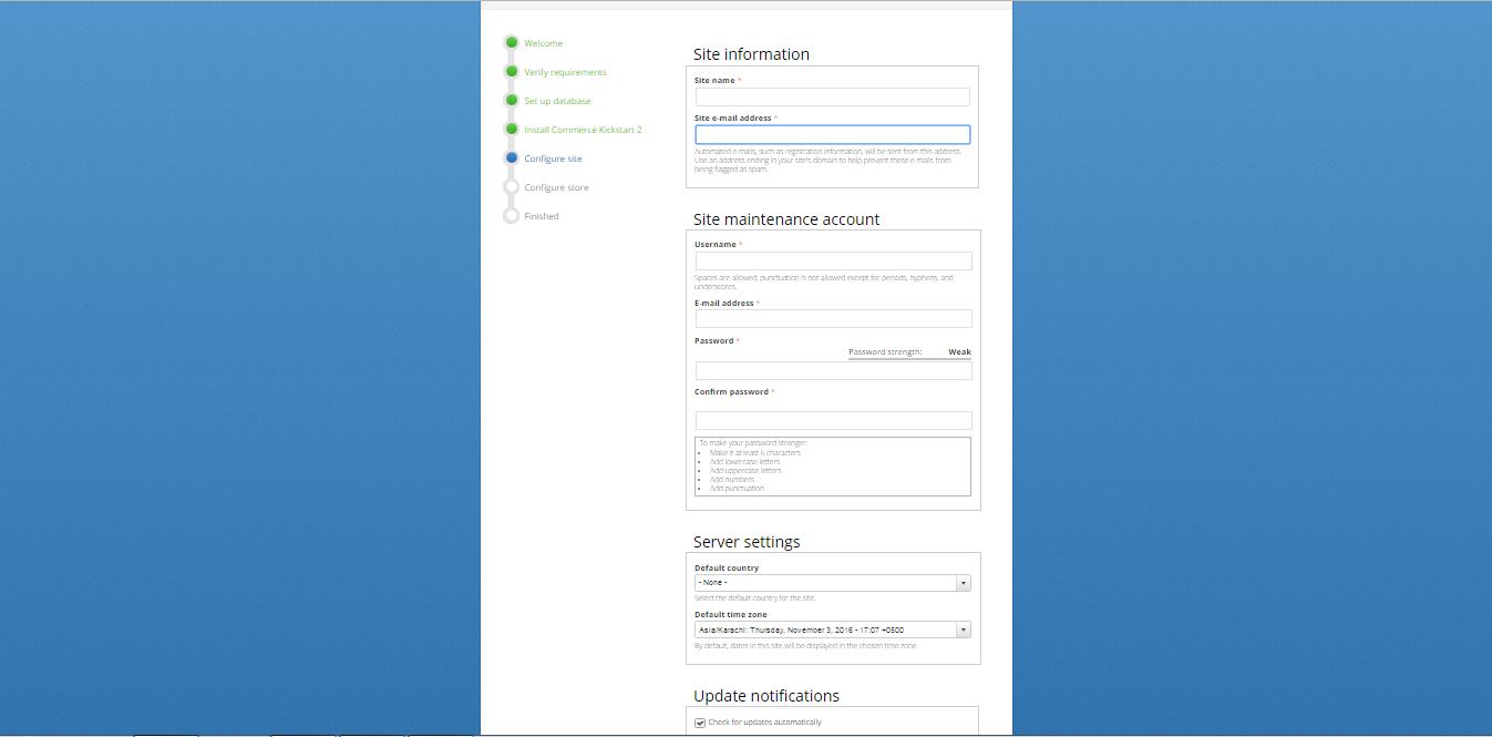 commerce kickstart site configuration