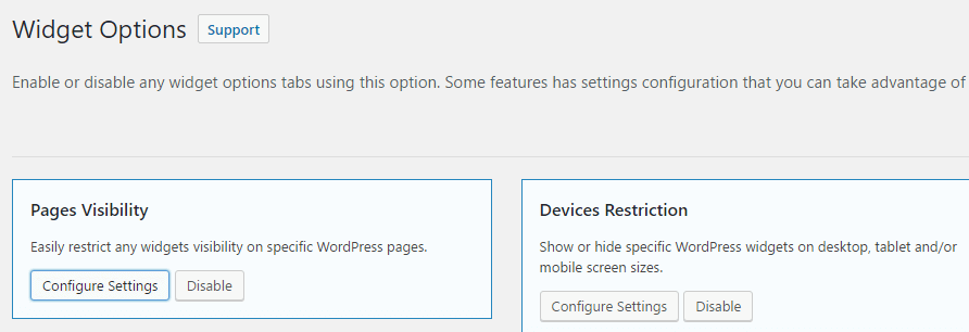 Widget Options Support