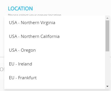 select aws server location