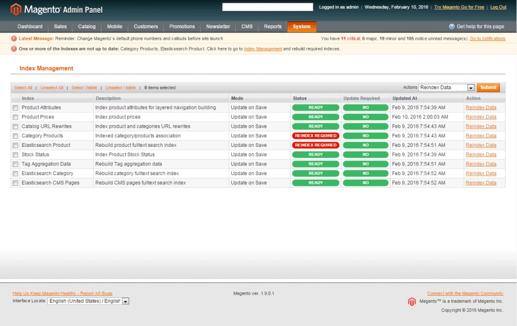 index management magento