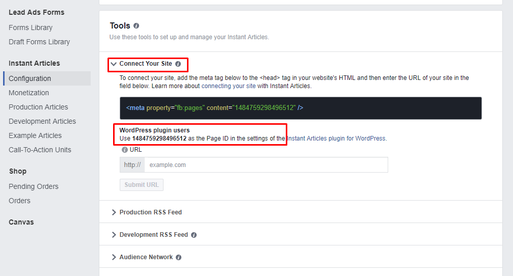 Page ID for Facebook IA