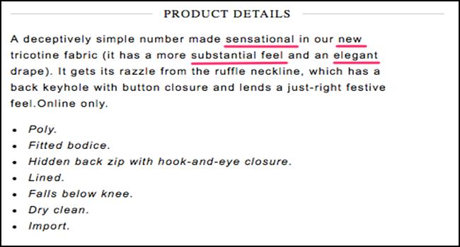 Product description example