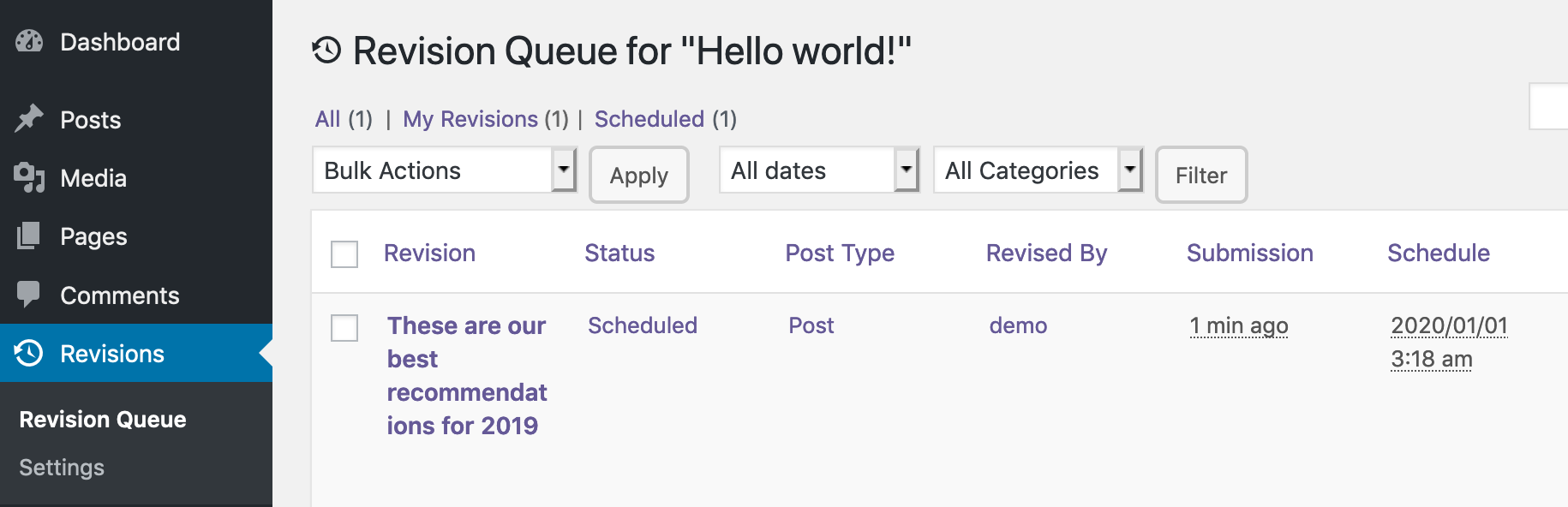 View Revision Queue for hello world