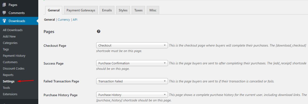 Configure Easy Digital Downloads