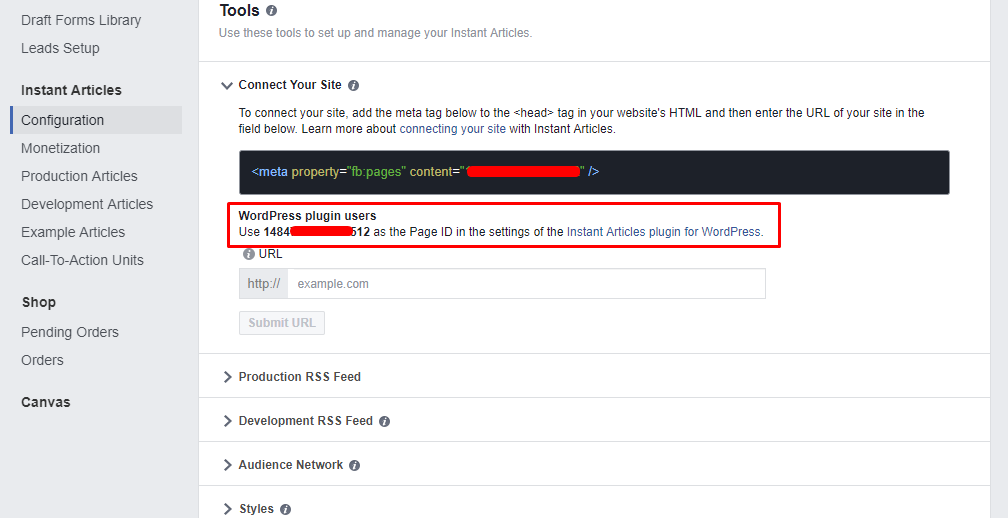 Accessing Facebook Page ID For Instant Article