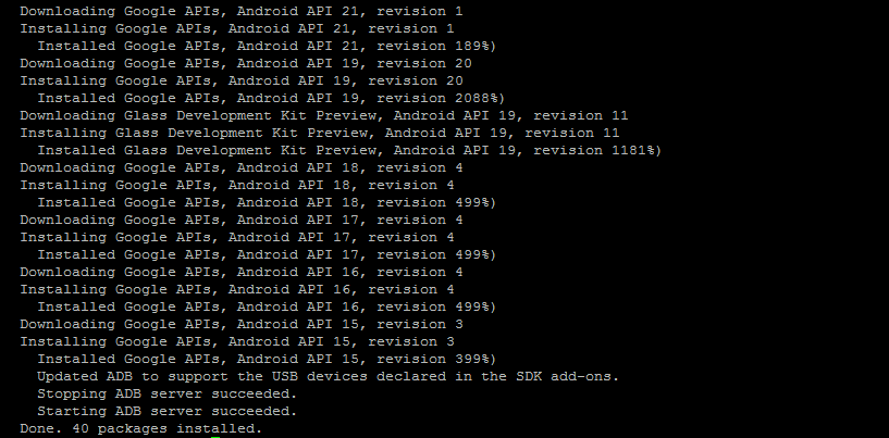 updating android sdk