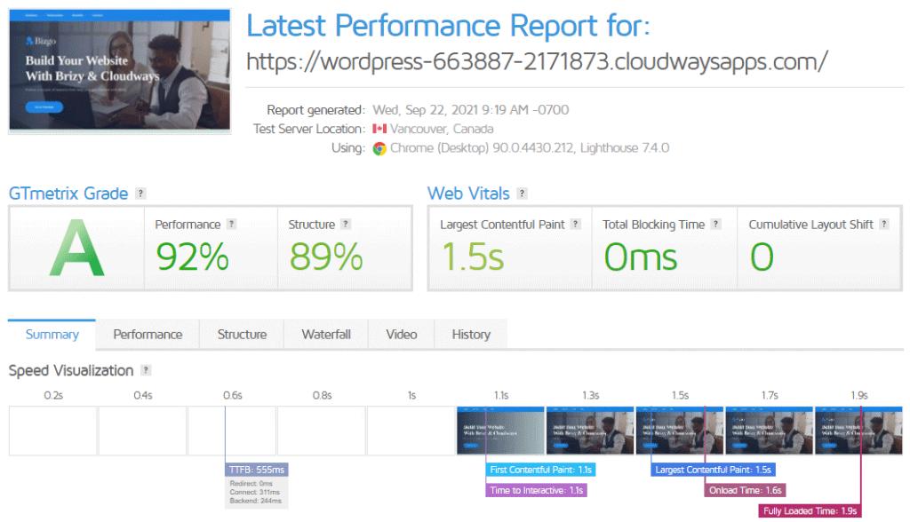 Gtmetrix performance report without cache