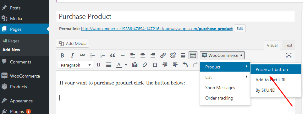 price cart button option