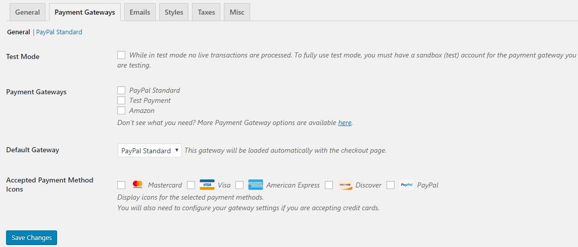 Payment Gateways Tab