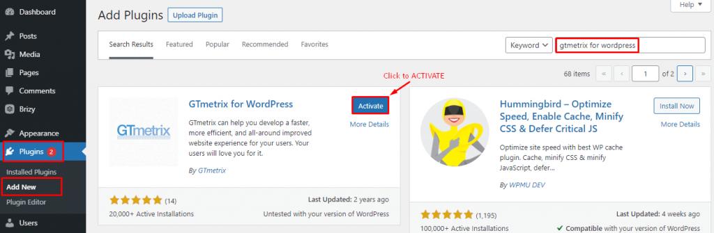 Install GTmetrix on WordPress