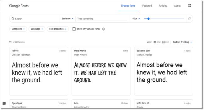 Google Fonts for designers