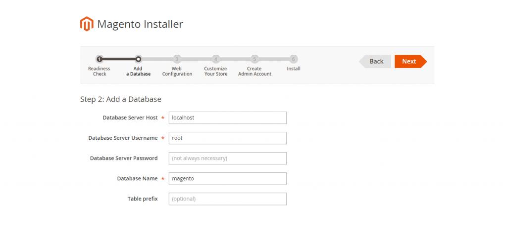 Magento 2 Installer Database