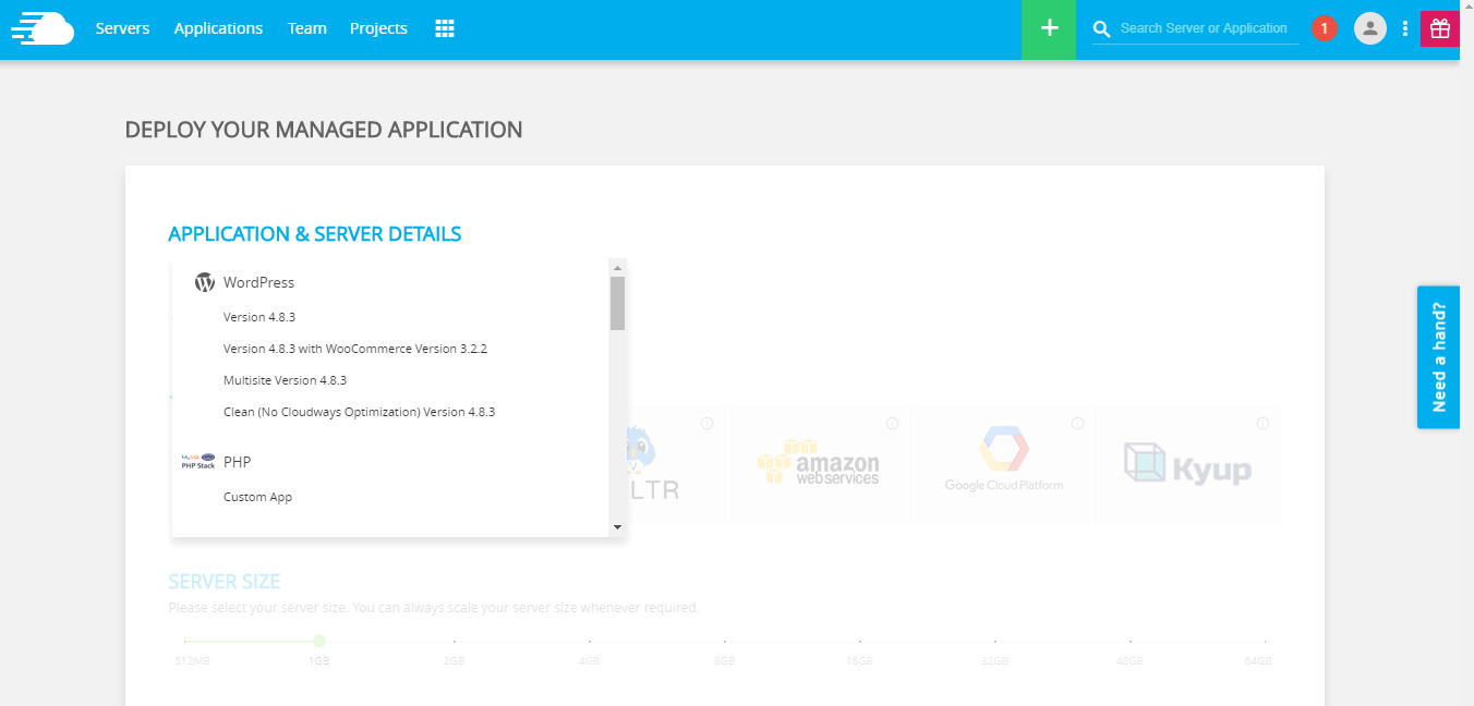 Application selection