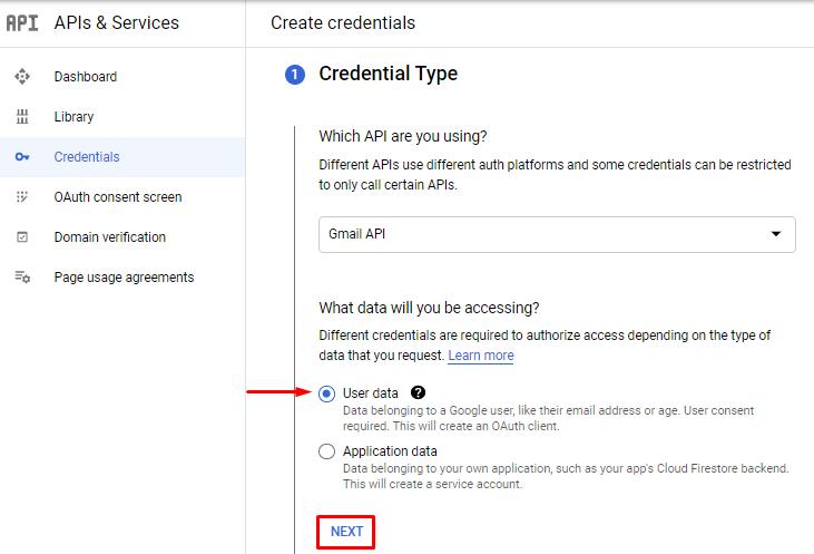 google api credentials type