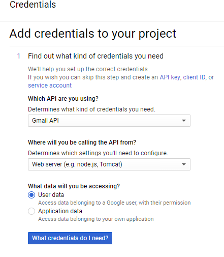 gmail credentials