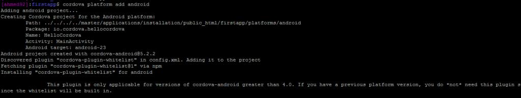 adding android on cordova application