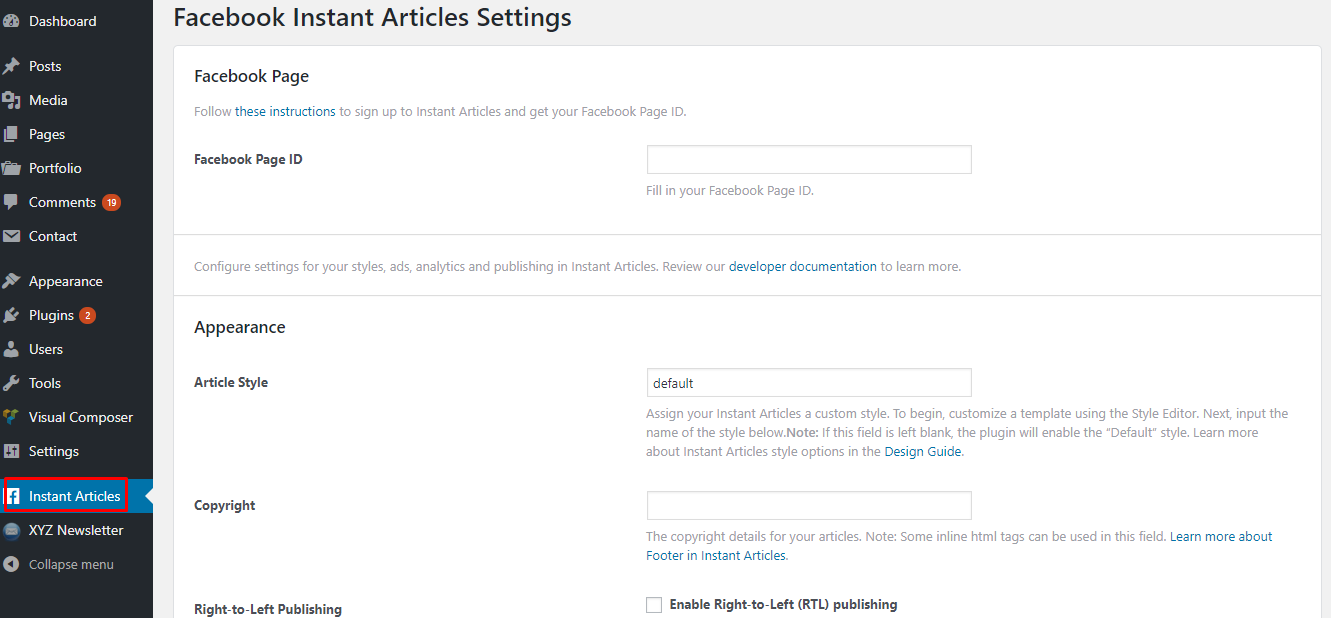 instant article and settings