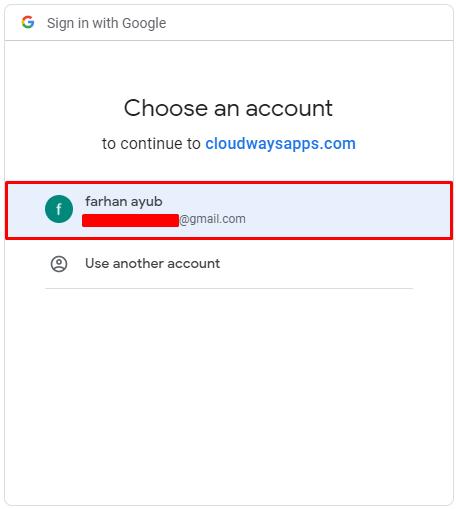 choosing google account