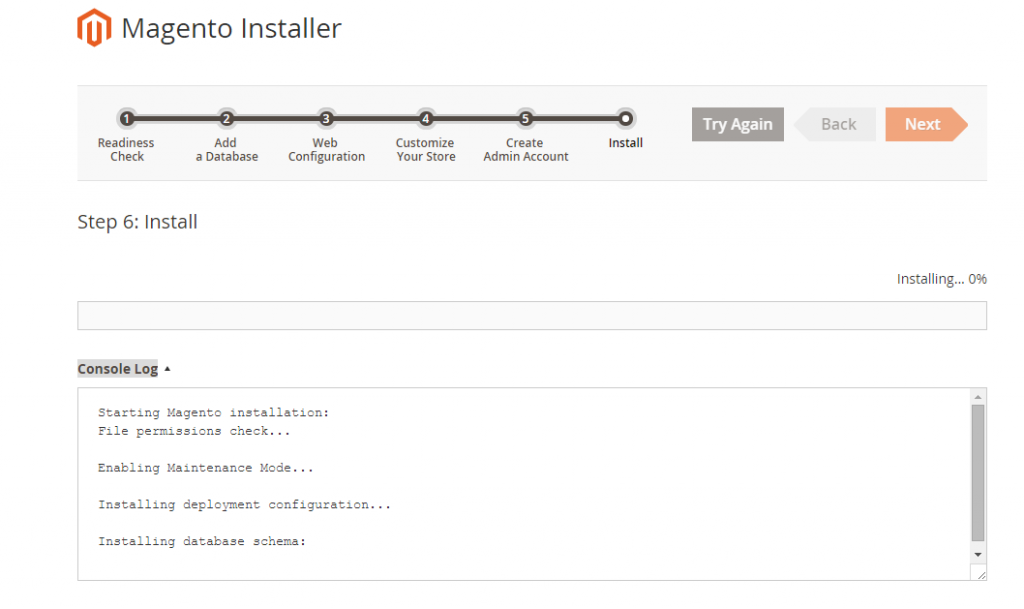 Magento 2 Installer Step 6