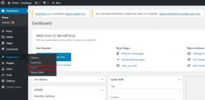 wordpress menu section