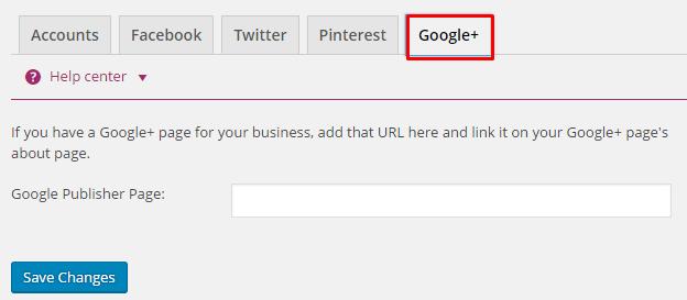 Yoast Google+ Settings
