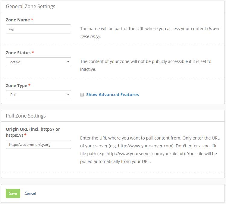 CDN WordPress general zone settings