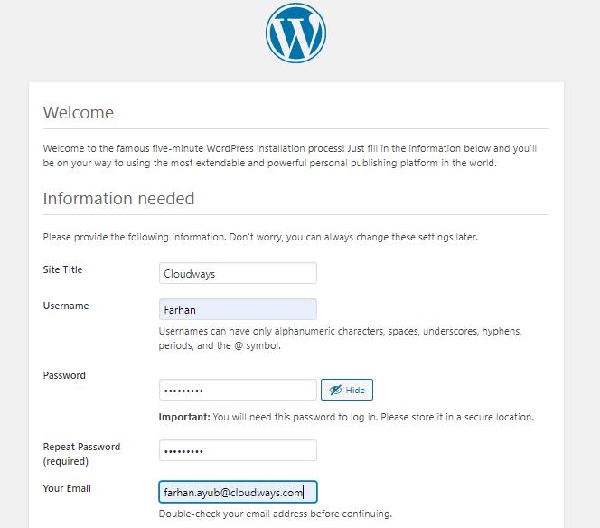 added wordpress information